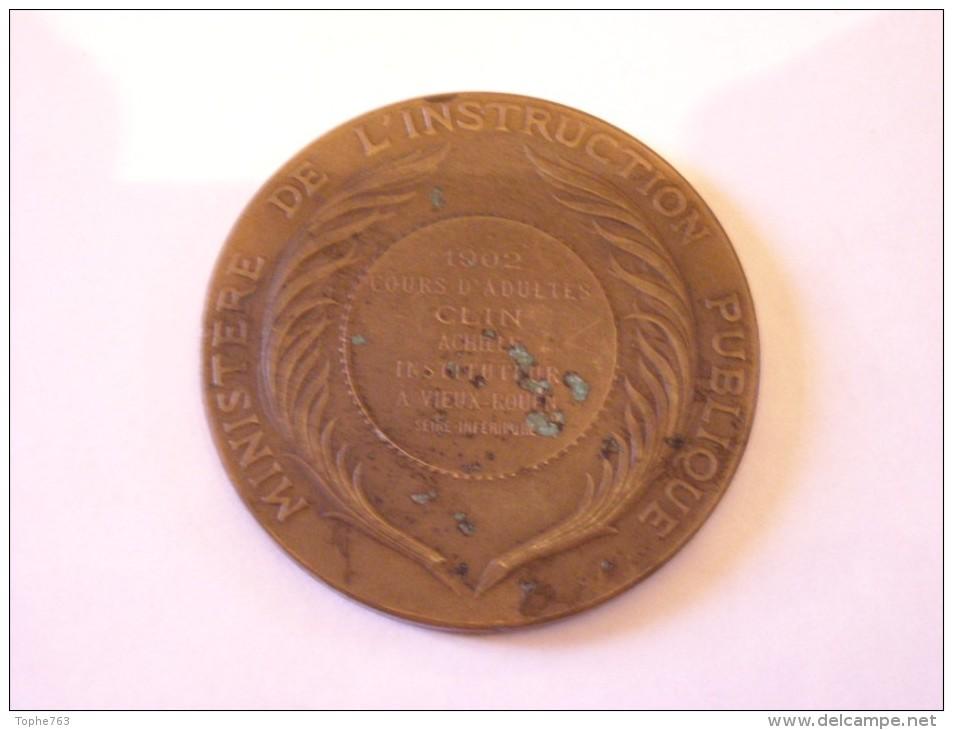 Médaille Bronze  Par Alphée Dubois , 1902 , Ministère De L´Instruction Publique - France