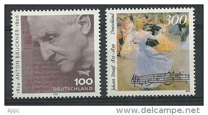 Anton Bruckner & Johann Strauss. Compositeurs  Autrichiens.  2 T-p Neufs ** D´ALLEMAGNE - Musik