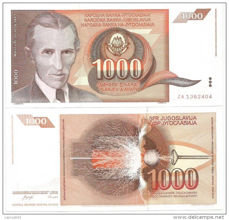 Yugoslavia 1000 Dinara 1990.  UNC P-107 Replacement Banknote ZA Serie - Yougoslavie