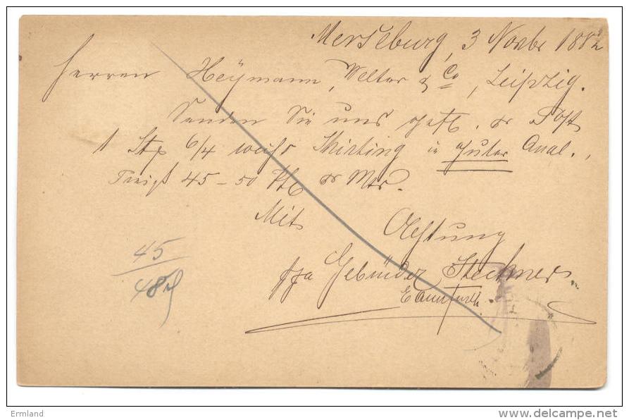 GS Deutsche Reichspost 1882 Von Merseburg Nach Leipzig - Deutschland