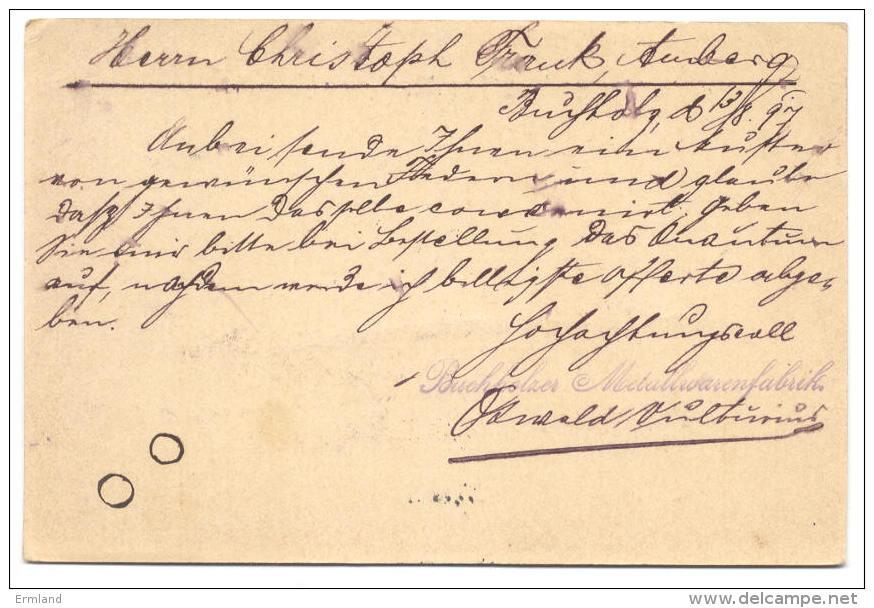 GS Deutsche Reichspost 1897 Von Buchholz Nach Amberg - Deutschland