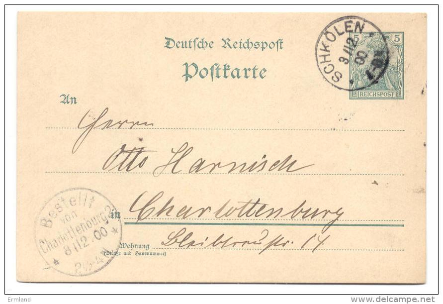 GS Deutsche Reichspost 1900 Von Schkölen Nach Charlottenburg - Deutschland