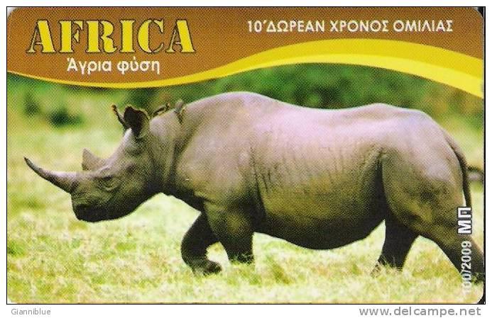Rhino/Rhinocéros - Greece Prepaid Phonecard - Jungle