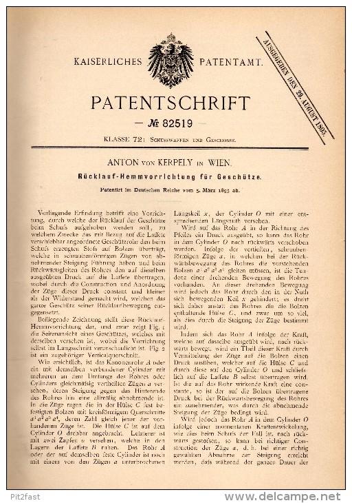 Original Patentschrift - Anton Von Kerpely In Wien , 1895 , Geschütz - Rücklaufhemmung , Kanone !!! - Fahrzeuge