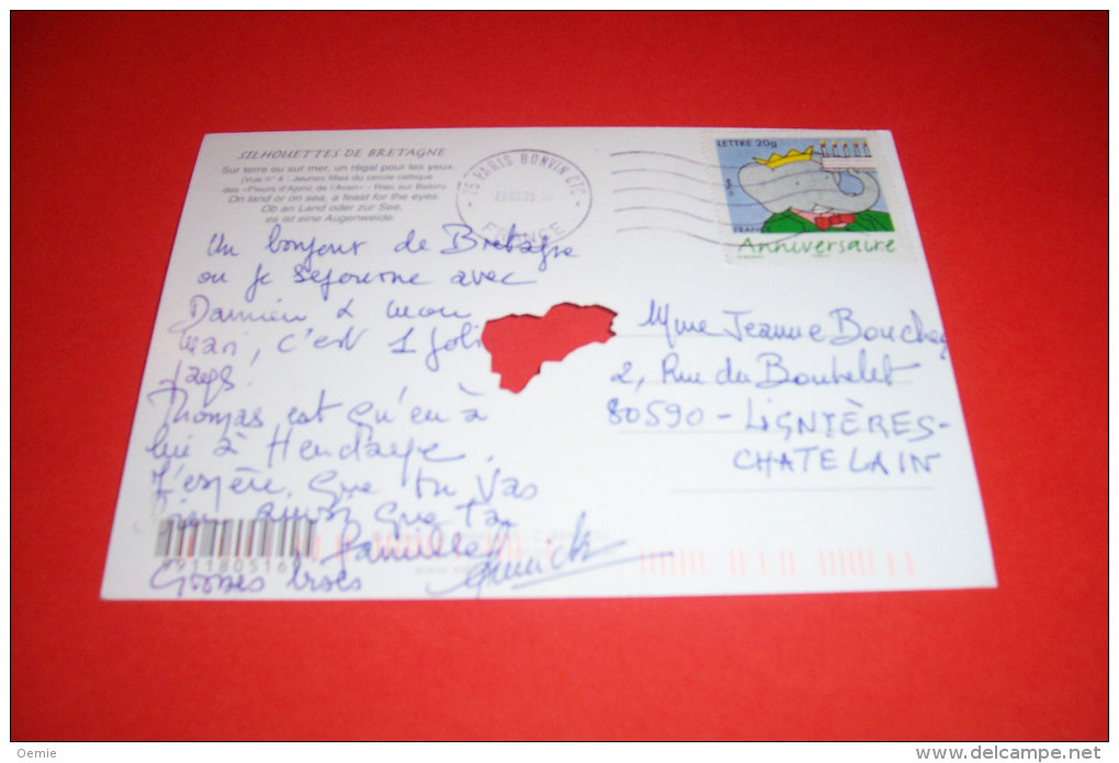 TIMBRE OBLITERATION FLAMME° SILHOUETTES DE BRETAGNE  LE 29 08 2005 - Marcophilie (Lettres)