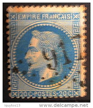 FRANCE - 1868 NAPOLEON III LAURE 20c BLEU N° 29B  OBLITERE - BON ETAT - 1863-1870 Napoléon III Lauré