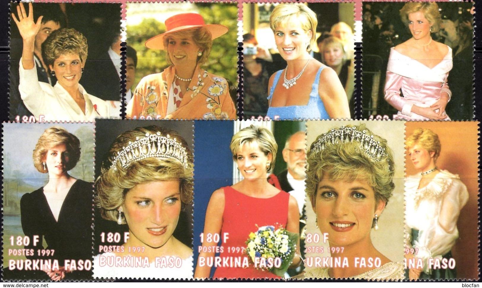 Diana 1997 Obervolta 1488/6+Kleinbogen ** 36€ Porträt Lady Di Princess Of Wales Bloc M/s Sheetlet Bf Burkina Faso - Burkina Faso (1984-...)