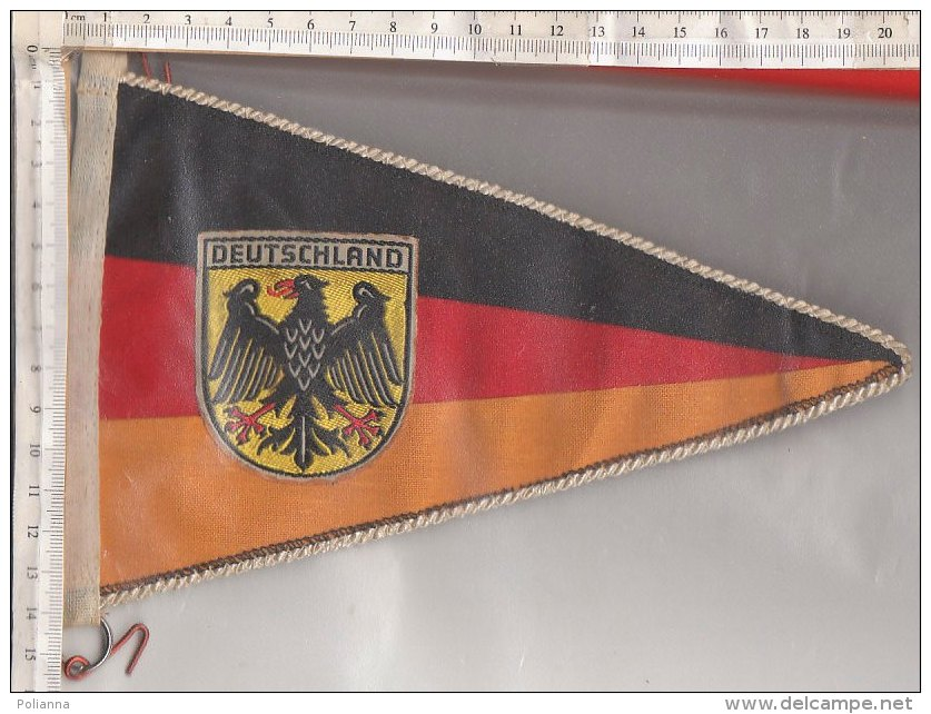 BN001 - BANDIERINA SOUVENIR IN TELA Anni '50 - GERMANIA - DEUTSCHLAND - RICAMO STEMMA - Pubblicitari