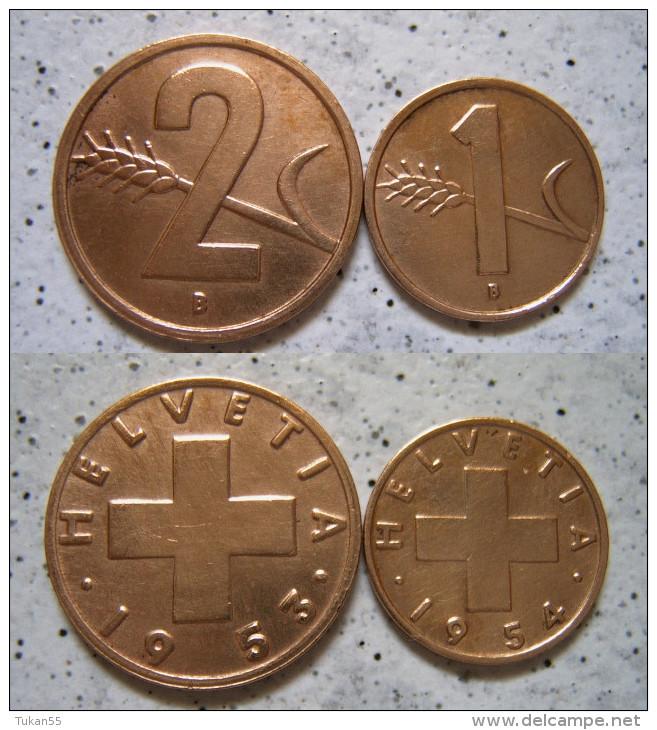 Schweiz 2 - 1 Rappen 1953 - 54 - Bronze                                     (X186) - Schweiz