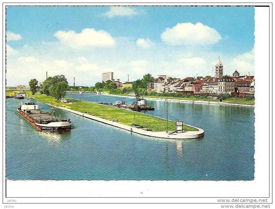 PENICHE ET LE RHIN SCHWEINFURT,COULEUR REF 4391 - Houseboats