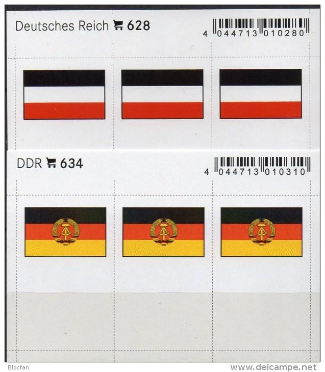 2x3 In Farbe Flaggen-Sticker Deutschland:DR+DDR 4€ Kennzeichnung An Alben Karte Sammlung LINDNER 628+634 Flag Of Germany - Briefmarken