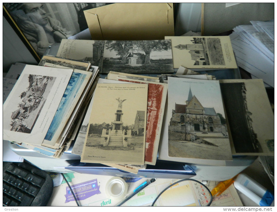 LOT DE 204 CARTES POSTALES ANCIENNES ET PETITES SEMI MODERNES DE L'AISNE (02)  2 - Cartes Postales