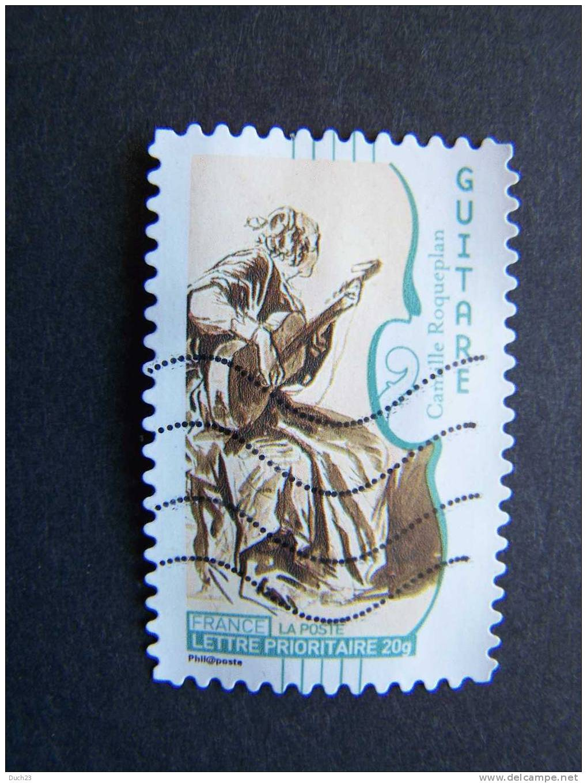 FRANCE OBLITERE ANNEE 2010  N° 393 SERIE INSTRUMENTS DE MUSIQUE AUTOCOLLANT ADHESIF LA GUITARE - France