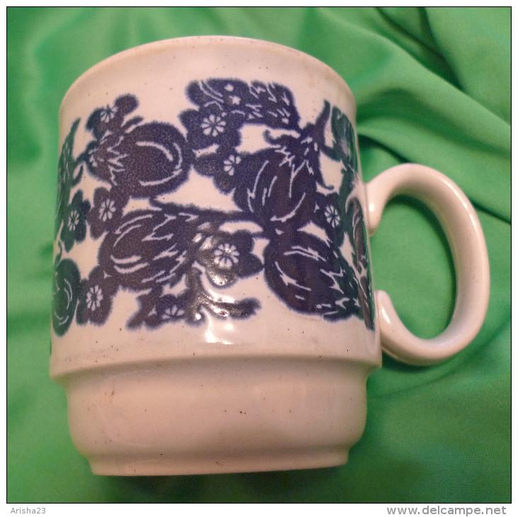 Blue & White Coffee Mug Tea Cup - Made In England - Ceramics & Pottery
