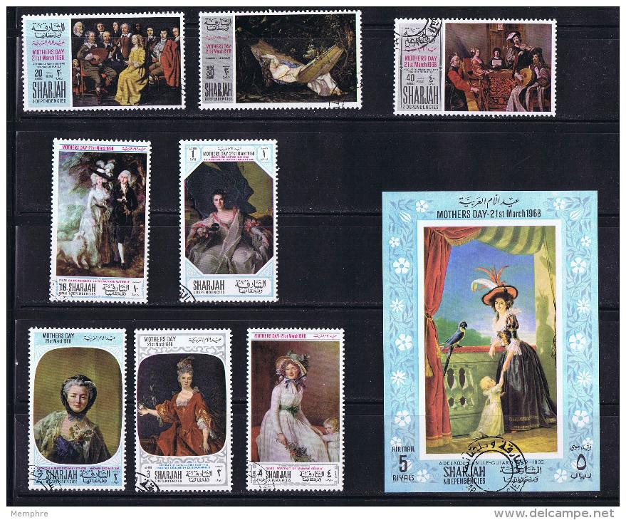 SHARJAH 1968  8 Timbres + BF Tableaux: Femmes Fête Des Mères Oblit - Sommer 1968: Mexico