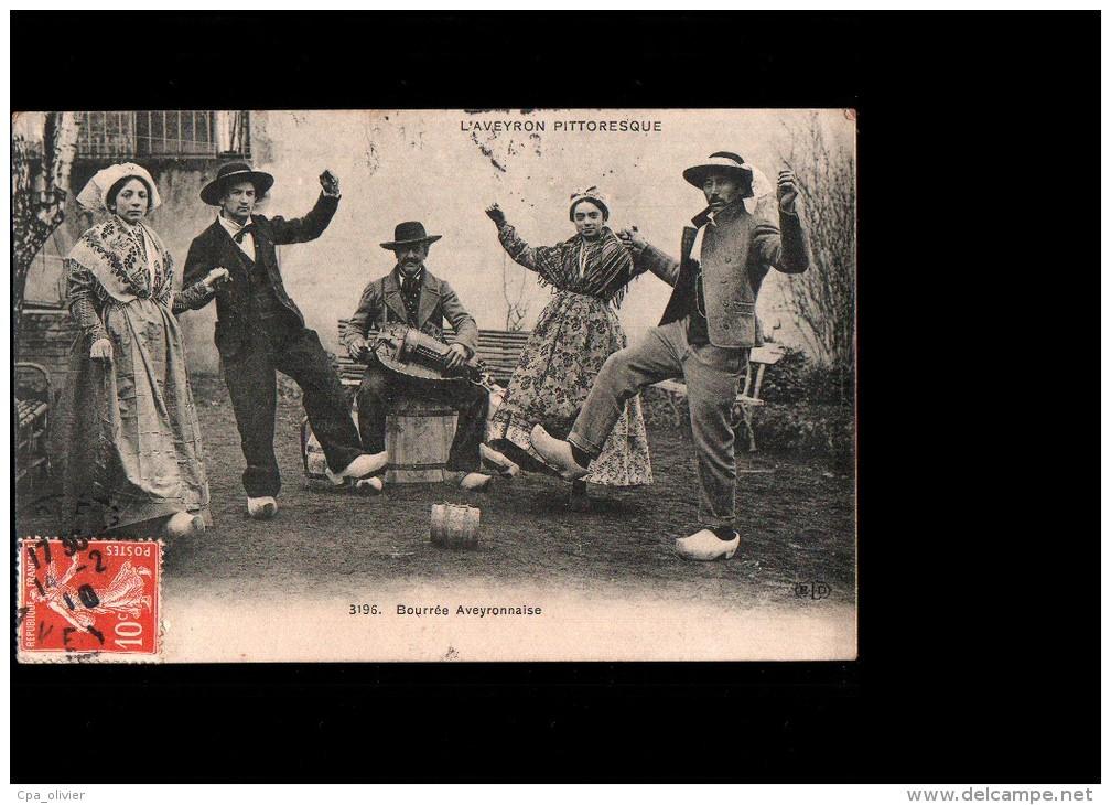 12 Types Aveyronnais, Bourrée Aveyronnaise, Vielleur, Ed ELD 3196, Aveyron Pittoresque, 1910 - Non Classés