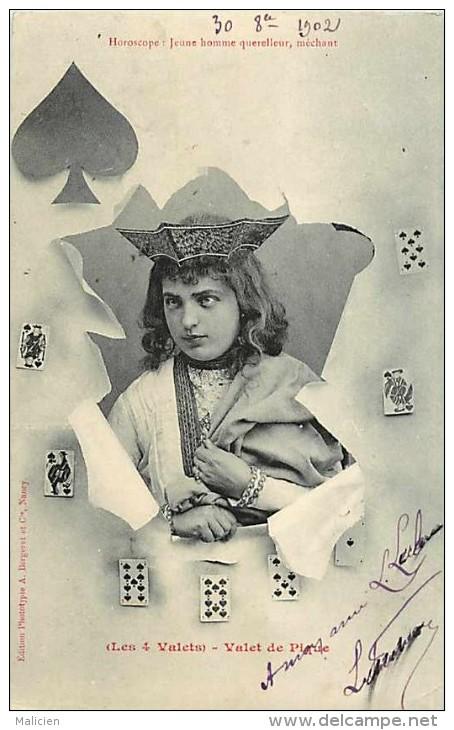 Ref 826- Illustrateurs - Illustrateur Bergeret - Nancy - Horoscope - Les 4 Valets - Cartes A Jouer - Astrologie - - Bergeret
