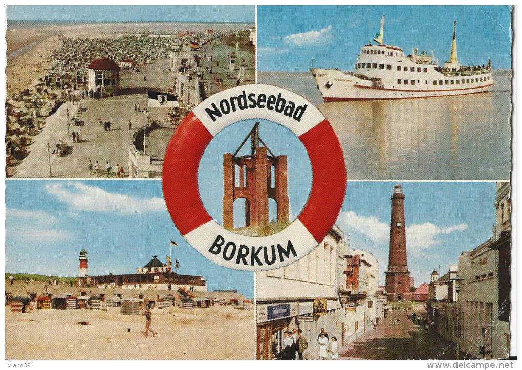 """Borkum - Nordseebad - Promenade, MS """"Munsterland"""", Kap, Südbad - 1966 - Borkum"""
