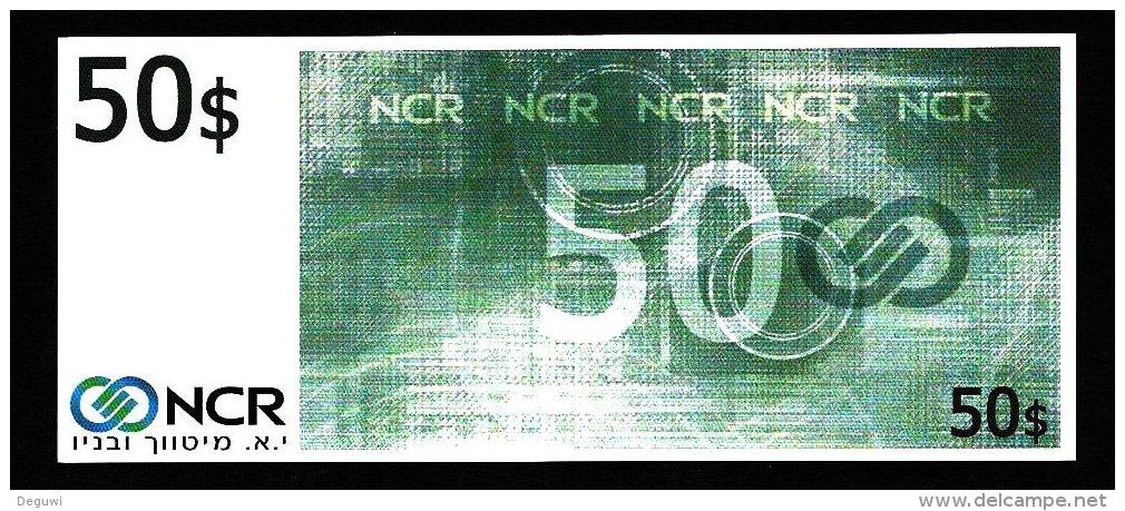 """Test Note """"NCR, Israel"""", Typ C, 50 DOLLARS, Testnote, Beids. Druck, RRRR, UNC, 155 X 66 Mm - Israel"""