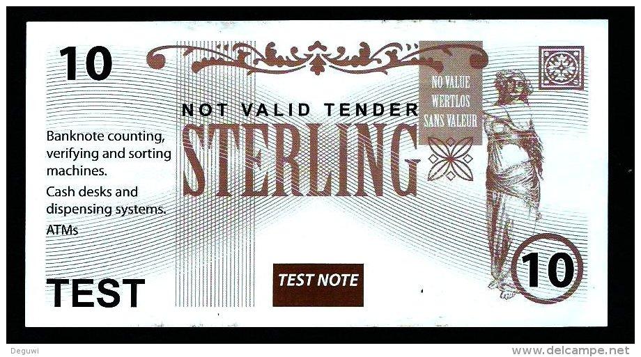 "Test Note ""UK, Unbekannt"", 10 Pds., Testnote, Beids. Druck, RRRR, UNC -, 142 X 75 Mm - Regno Unito"
