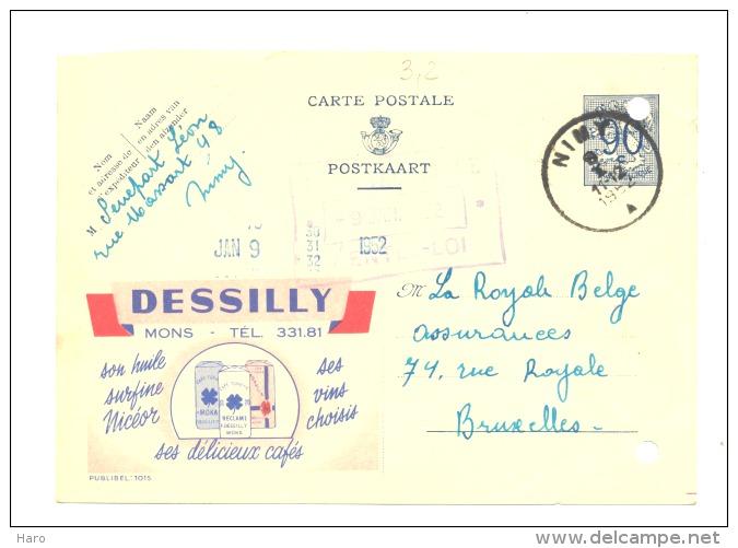 "Entier Postal - Publibel 1015 - MONS "" Cafés Dessily"" - 1952 (sf48) - Werbepostkarten"