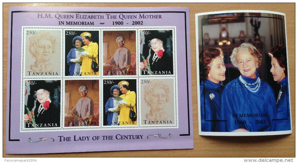 Tanzania 2002 In Memoriam Her Majesty The Queen Mother England UK 1900 1 Sheet + 1 Souvenir Sheet MNH** - Tanzanie (1964-...)