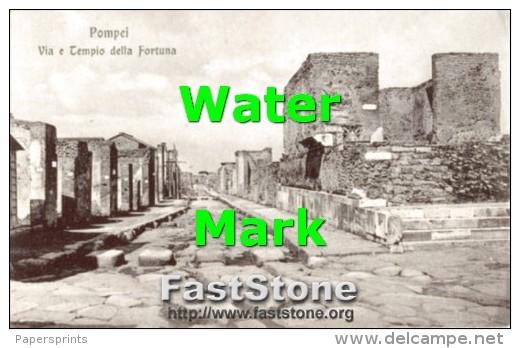 Pompei - Cartolina Antica VIA E TEMPIO DELLA FORTUNA - G46 - Archeologia