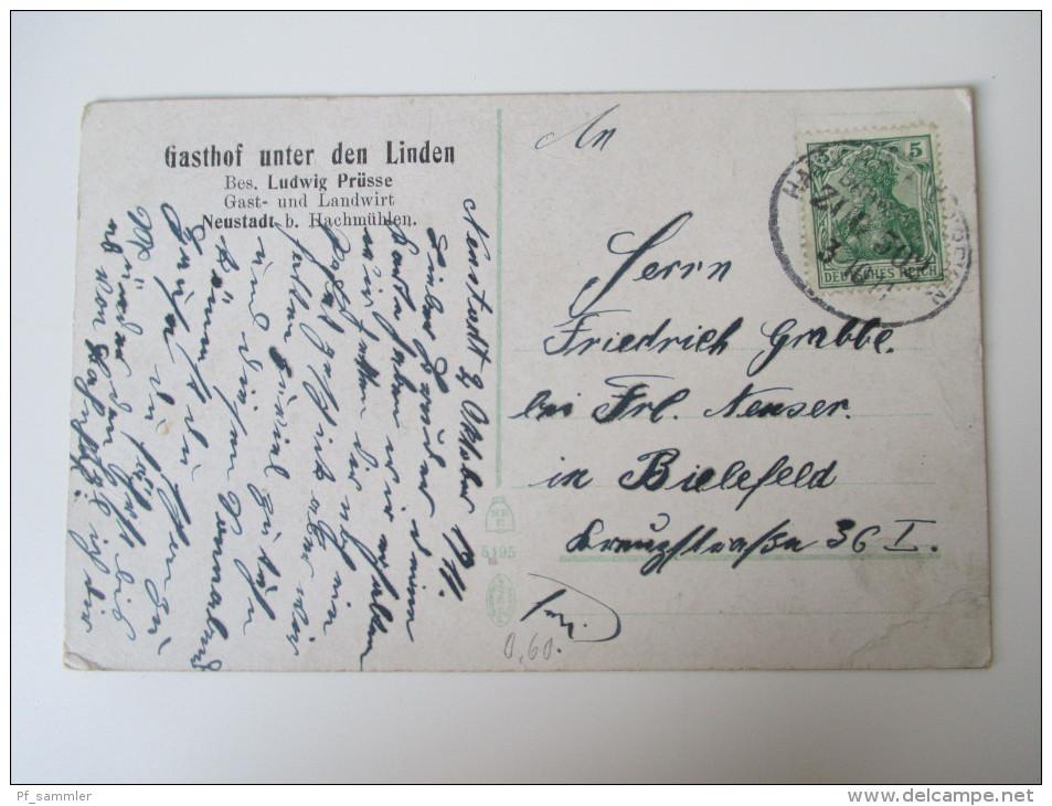 AK / Bildpostkarte 1911 Gasthof Unter Den Linden Bes. Ludwig Prüsse Neustadt B. Hachmühlen  Bahnpoststempel Zug 502 - Hotels & Gaststätten