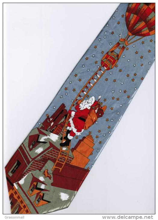 Christmas Santa Claus Xmas #24 Hot Balloon SILVER Silk Cartoon Novelty Fancy NECK TIE - Other