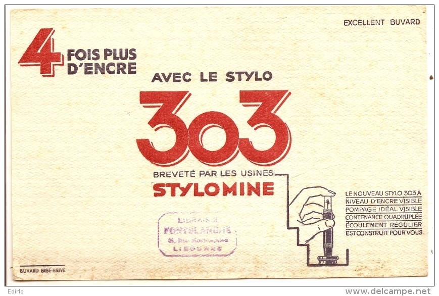 Buvard Papeterie Stylo 303 - Papeterie