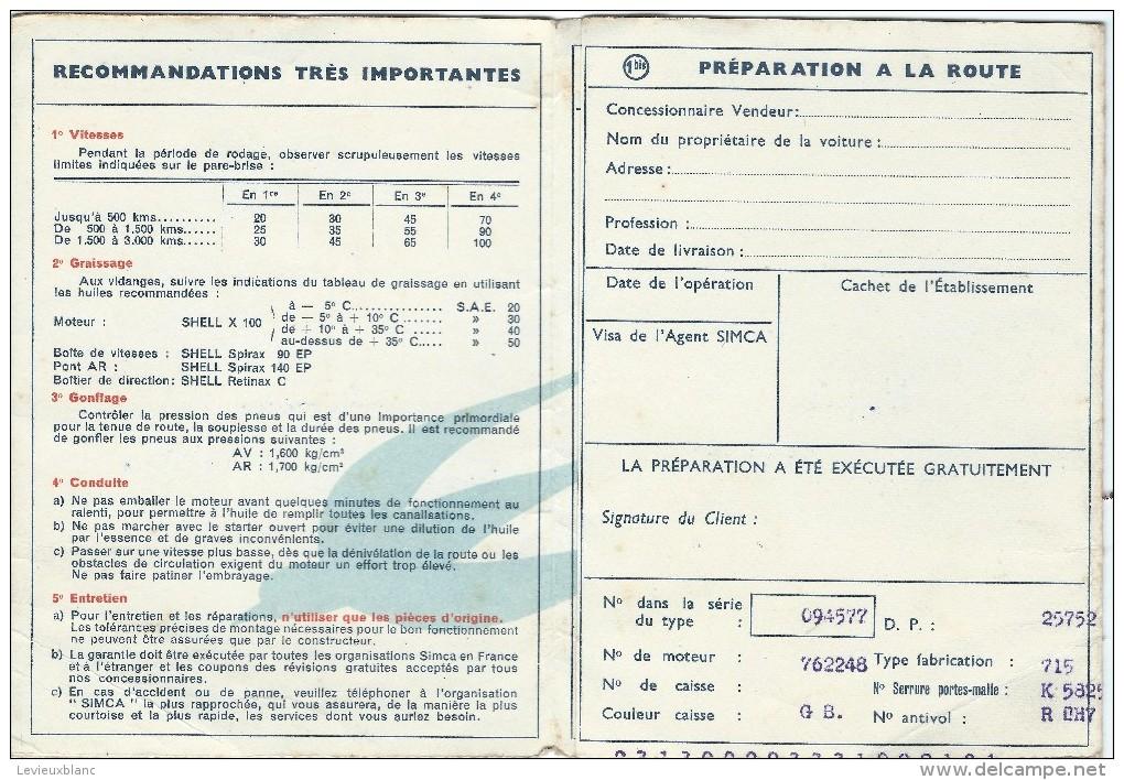 automobile certificat de garantie voiture simca 1952 ac55. Black Bedroom Furniture Sets. Home Design Ideas