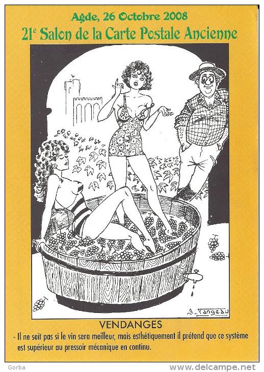 CPM - 21ème Salon De La Carte Postale D´AGDE (34) - Hommage à L'illustrateur Georges FANGEAU - Vendanges - Collector Fairs & Bourses