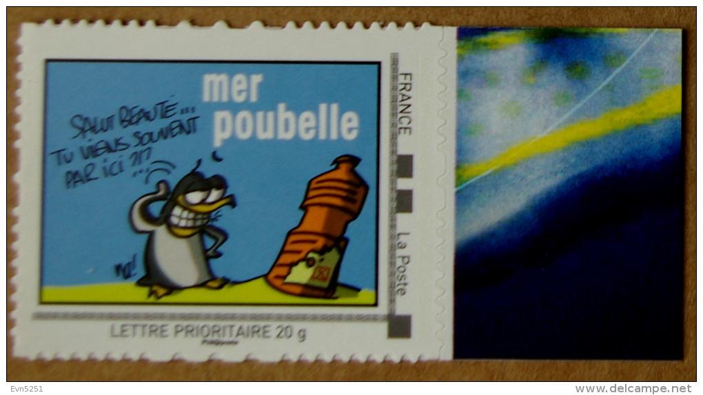 Mer01 Mer Poubelle  (autocollant) - Adhésifs (autocollants)