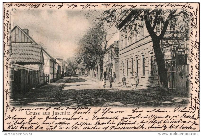 !  Alte Ansichtskarte Gruss Aus Jasenitz In Pommern, Bahnpoststempel Stettin - Jasenitz, Polen, Pologne, Poland, Polska - Pommern
