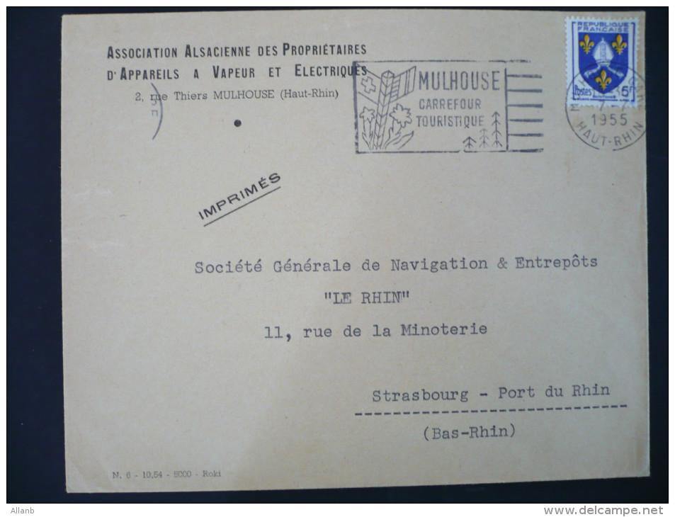 France - 7 Juillet 1955 N° 1005 Seul Sur Lettre Empreinte SECAP Mulhouse Petit Décalage - Marcofilie (Brieven)