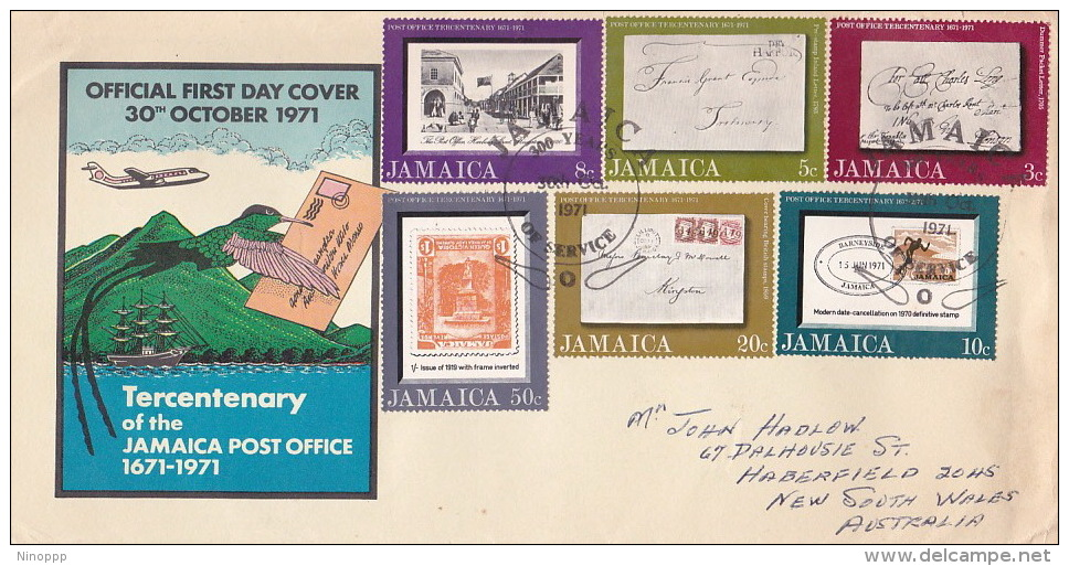 Jamaica 1971 Tercentenary Of Jamaica Post Office FDC - Jamaique (1962-...)