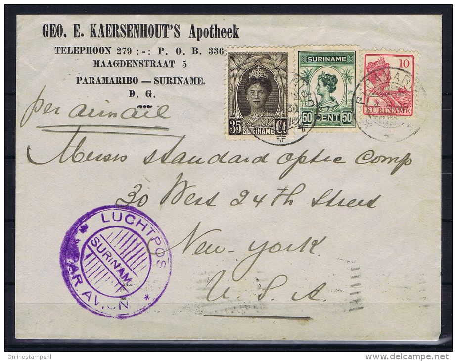 Suriname Airmail Cover Nrs 87-100-126, Paramaribo To New York With Violet Airmail Cancel - Suriname ... - 1975
