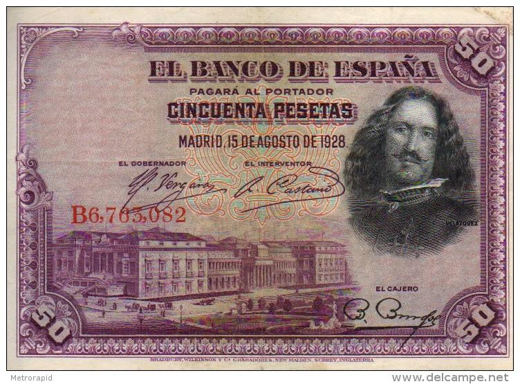 ESPAÑA BILLETES LOTE 01 CINCUENTA PESETAS QUEVEDO CIRCULADO CON DOBLECES - [ 1] …-1931 : Premiers Billets (Banco De España)