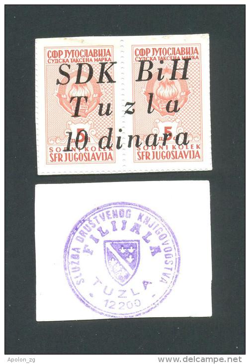 BOSNIA - BOSNIEN UND HERZEGOWINA,  10 Dinara ND(1992) UNC , SDK BIH -TUZLA , Rare War Time Emergency Note - Bosnia And Herzegovina