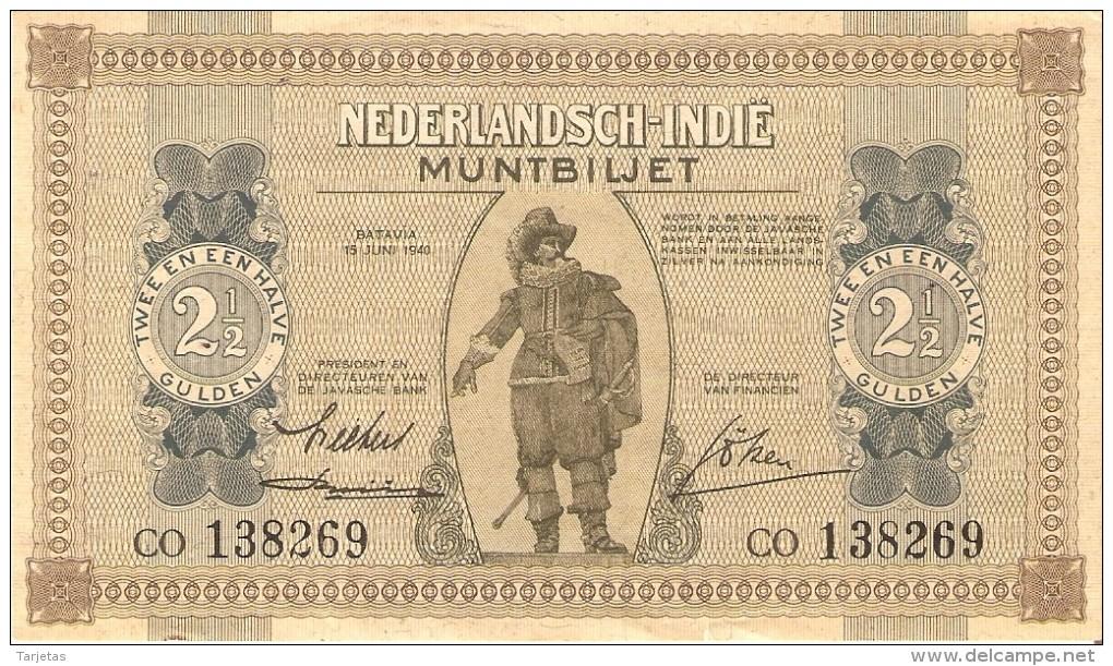 BILLETE DE NEDERLANDSCH-INDIE DE 2,50 GULDEN DEL AÑO 1940 CALIDAD EBC++  (BANKNOTE) - Indes Neerlandesas