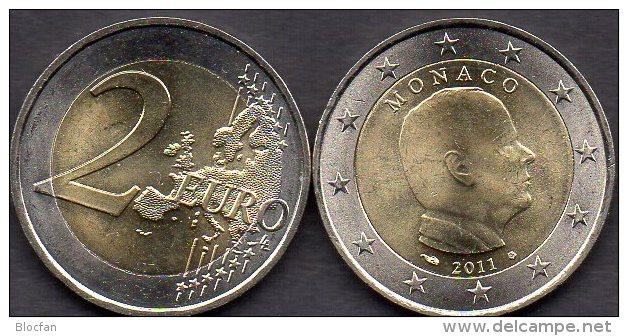 Fürst Albert II Monaco 2 EURO 2011 Stg 8€ Kursmünze Einzeln Zu 2€-Münze Im Stempelglanz  Coin Of Fürstentum Monako-Ville - Monaco