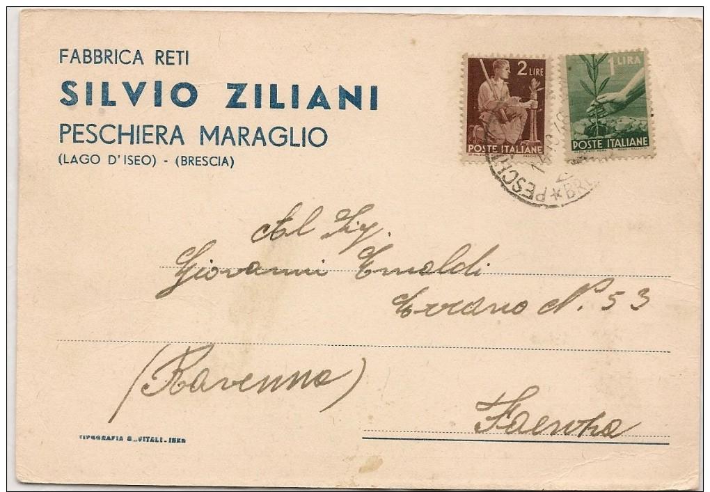 Peschiera Maraglio (Monte Isola, Brescia) 14.09.1946: Cartolina Pubblicitaria Fabbrica Reti Silvio Ziliani - Brescia