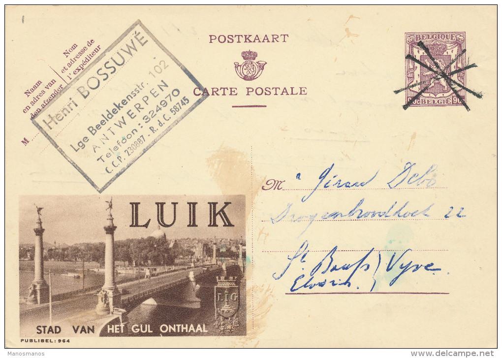 235/22 - Annulation Par CROIX De ST ANDRE Sur Timbre Entier Publibel ANTWERPEN 1952 Vers ST BAAFS VIJVE - - Stamped Stationery