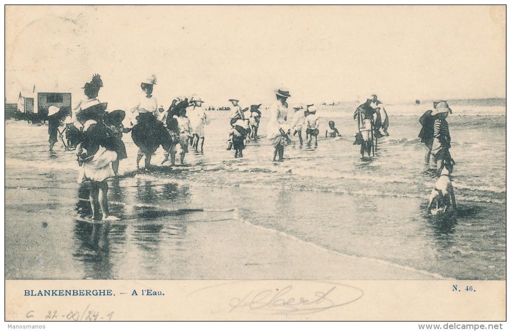 241/22 - FRAUDE POSTALE - Carte-Vue BLANKENBERGHE TP Armoiries 1 C PREO LIEGE 1905 - Accepté Par La Poste BLANKENBERGHE - Precancels