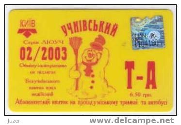 Ukraine: Month Tram & Bus Card For Pupils From Kiev (1) - Season Ticket