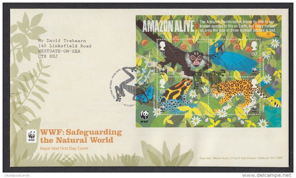 Royal Mail First Day Cover - WWF: Safeguarding The Natural World Miniature Sheet  - AMAZON ALIVE - FDC