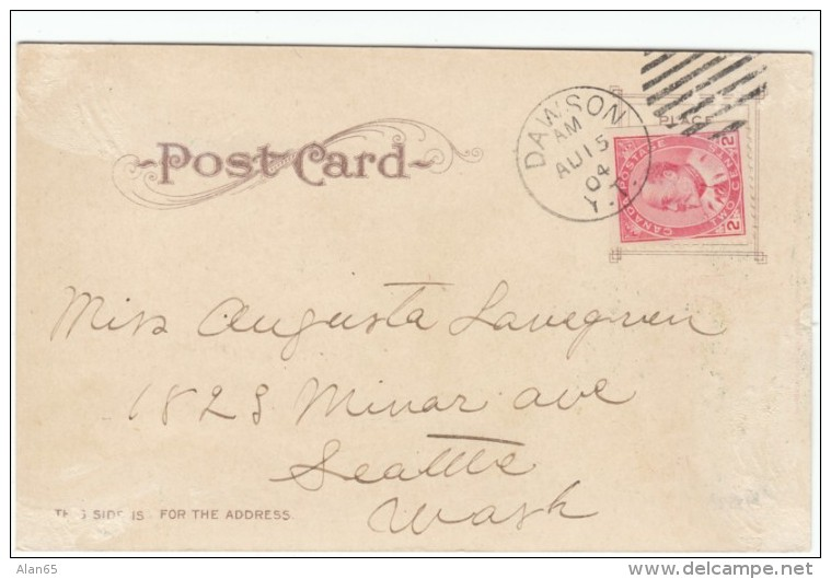'Lower Dominion' Dog Team Lumber, Smith's Bookstore Dawson Yukon Canada C1900s Vintage Postcard - Yukon