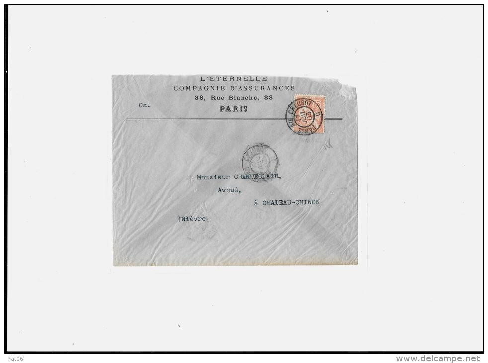 POSTE FERROVIAIRE  « Bureaux Ambulants »Type II Nuit (P.N°930 Ret.) « PARIS AU CREUSOT D  17 JUIL.03/1 - Postmark Collection (Covers)