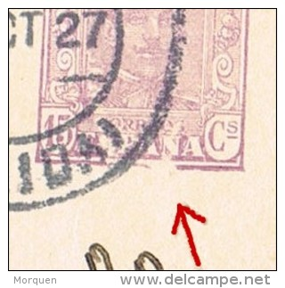 7569. Entero Postal TREMP (Lerida)1927. VARIEDAD Impresion - Enteros Postales
