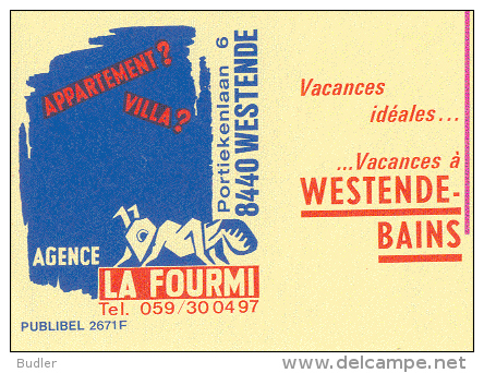 PUBLIBEL 2671°: (LA FOURMI) : VACANCES,HOLIDAYS,INSECTS,MIER,FOURMI,ANT,WESTENDE, - Stamped Stationery